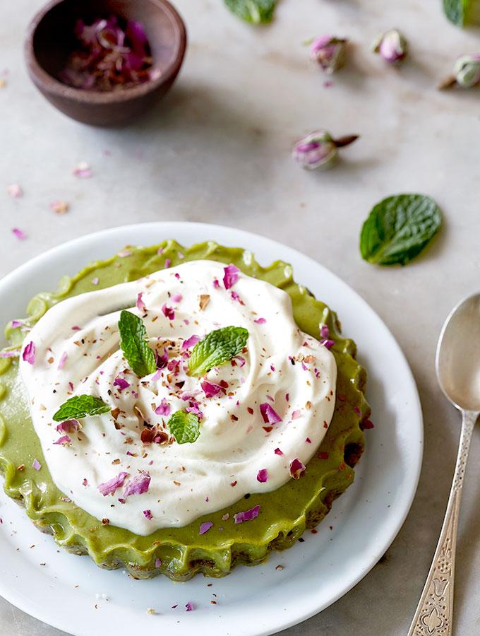 Raw Cardamom Cream Pistachio Tart